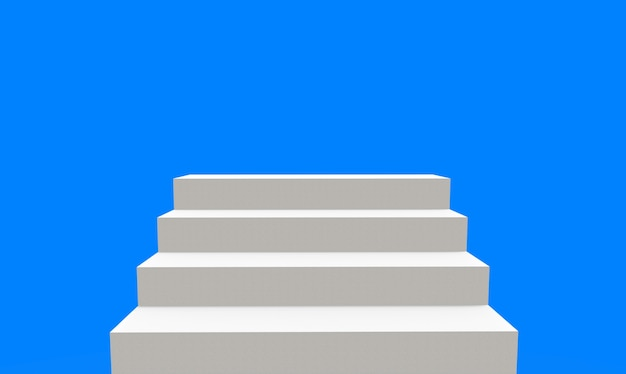 3d rendering. white stair up to blank clear blue sky background.