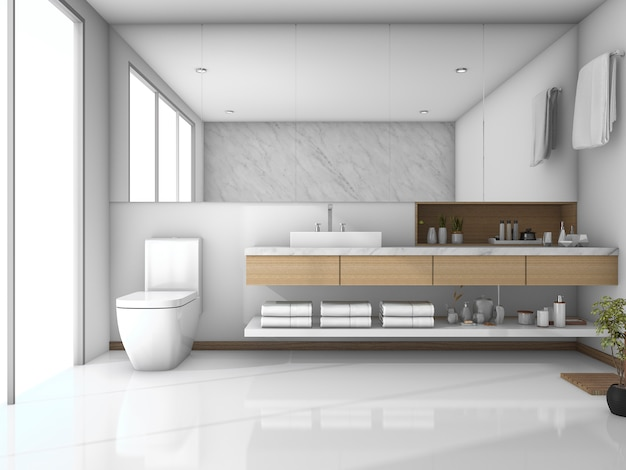 3d rendering white tile modern bathroom