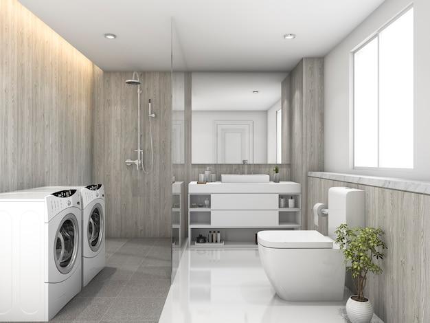 3d рендеринг белая деревянная и каменная плитка туалет и прачечная