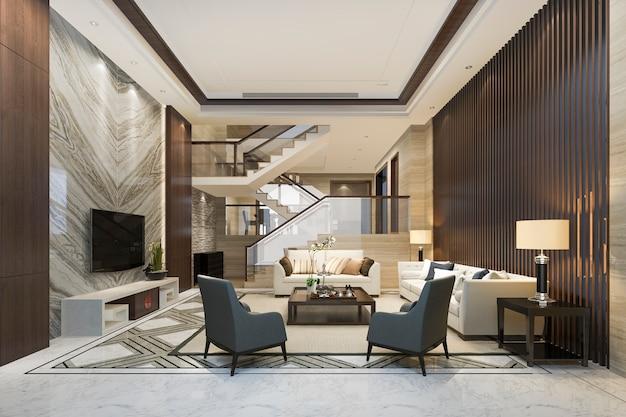 위층 침실 근처 3d 렌더링 흰색 나무 거실