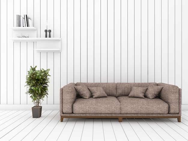 3d rendering white wood living room with minimal cool sofa and shelf