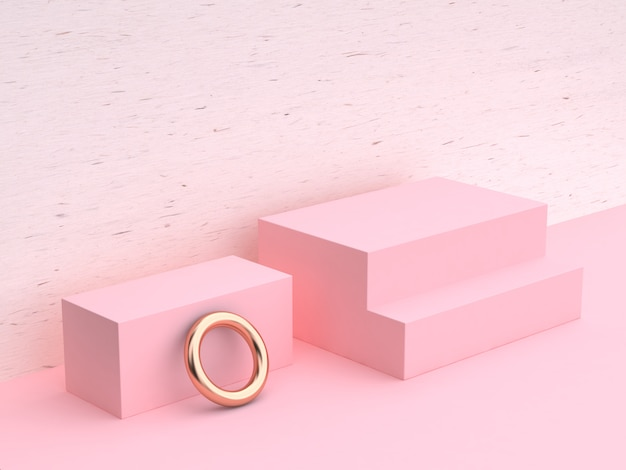 3d rendering white wood pink wall scene geometric shape