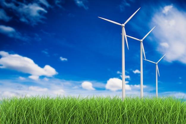 3d рендеринг ветряных турбин в поле травы