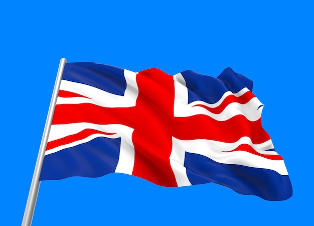 3d rendering. windy flowing united kingdom national flag
