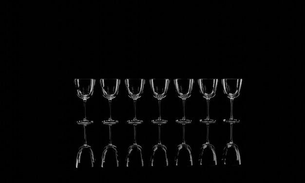 3dレンダリング、影付きの黒い背景にワイングラス。バナーデザイン。