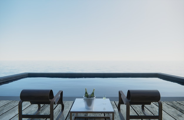 3d rendering . wine glasses and wine bottles are placed on the table with seats. pool side sea view.