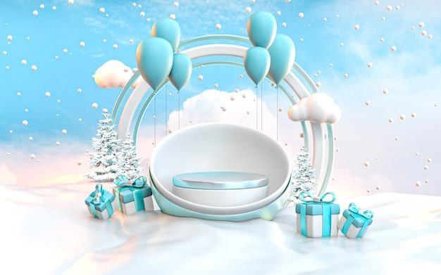 파란색 풍선 및 giftbox 눈덩이 풍경 배경 3d 렌더링 겨울 연단 무대