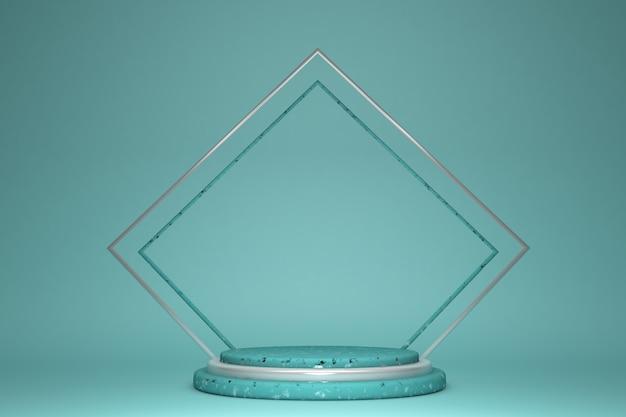 3d-рендеринг с пустым зеленым подиумом и серебряной рамкой с минимальным геометрическим пьедесталом этап для продукта на пустом пастельном фоне