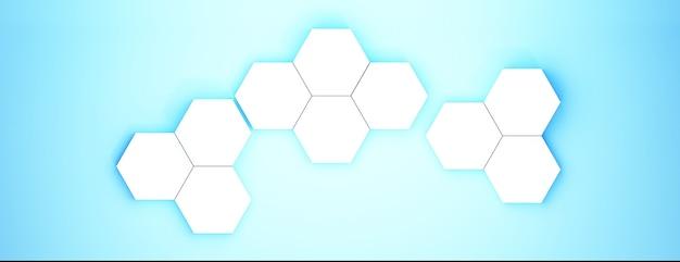육각형, 파란색 추상적 인 배경으로 3d 렌더링