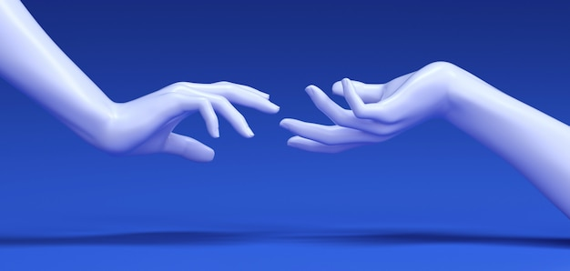 3d rendering of woman hands touching.