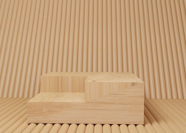 Стойка продукта подиума дисплея 3d рендеринга деревянная на предпосылке. абстрактная минимальная геометрия. премиум-изображение