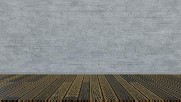 3d 렌더링 나무 바닥과 콘크리트 나무 벽을 형성.