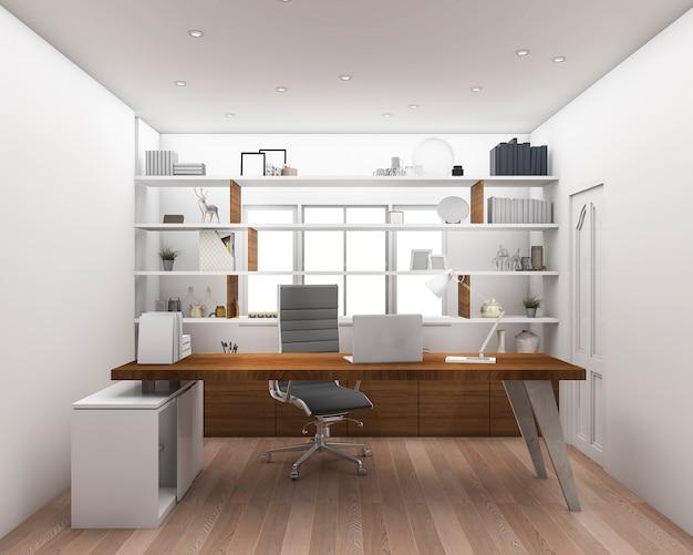 3d rendering wood floor with shelf working room