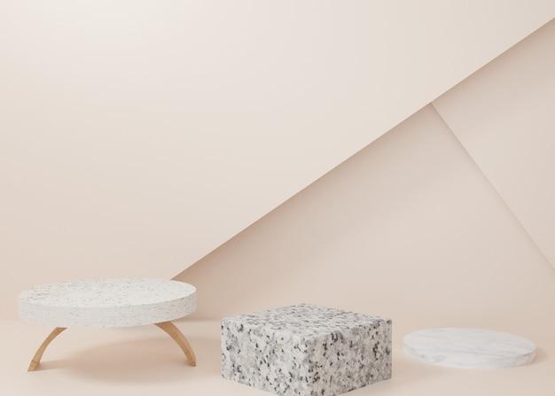 3d-рендеринг деревянной мраморной витрины подиума на фоне. абстрактная минимальная геометрия. премиум-изображение