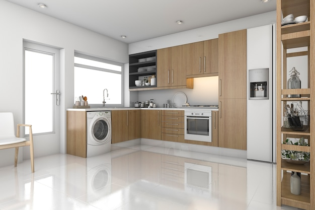 3d 렌더링 나무 현대 세탁실 및 주방