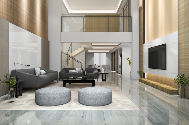 3d rendering wood modern living room and dining room with tv