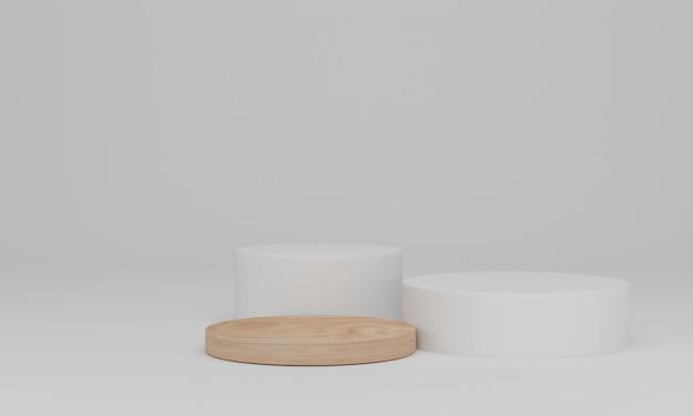3d-рендеринг. деревянный подиум. абстрактная минимальная сцена с геометрическим. пьедестал или площадка для показа, презентации продукта,