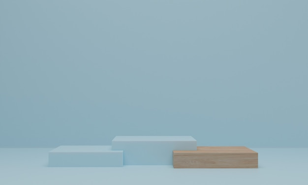 3d rendering. wood podium on blue background. pedestal or platform for display, product presentation or mock up