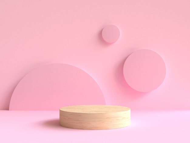 3d rendering wood podium minimal pink wall scene background