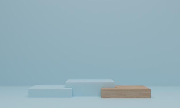 3dレンダリング。青い背景に木の表彰台。ディスプレイ、製品プレゼンテーション、またはモックアップ用の台座またはプラットフォーム