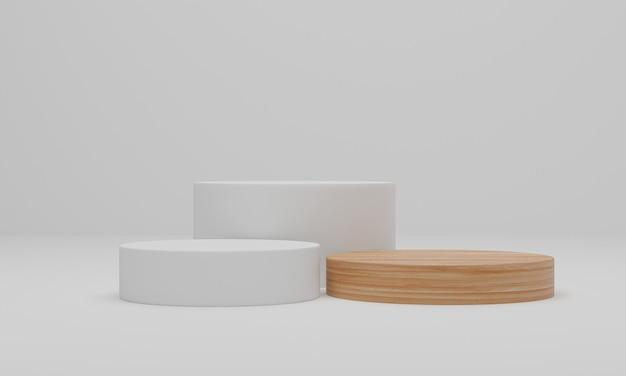 3d рендеринг. деревянный подиум на белом фоне. абстрактная минимальная сцена с геометрической. пьедестал или площадка для показа, презентации продукта, макета, демонстрации косметического продукта