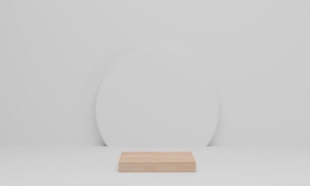 3d 렌더링. 흰색 바탕에 나무 연단입니다. 기하학적으로 추상 최소한의 장면입니다. 디스플레이, 제품 프레젠테이션, 모의, 화장품 쇼를위한 받침대 또는 플랫폼
