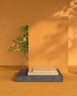 3d rendering of wood podium and plant.