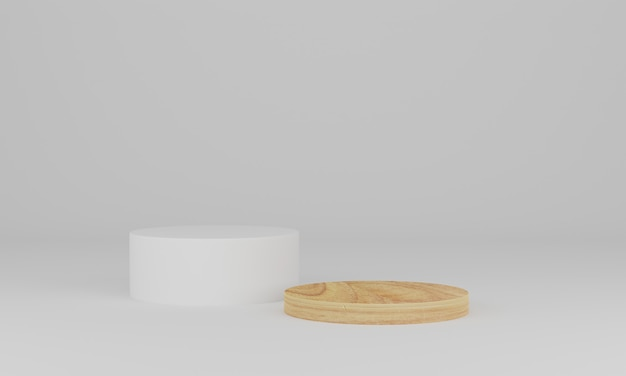 3d rendering. wood podium on white background. abstract minimal scene with geometric. pedestal or platform for display, product presentation, mock up, show cosmetic product