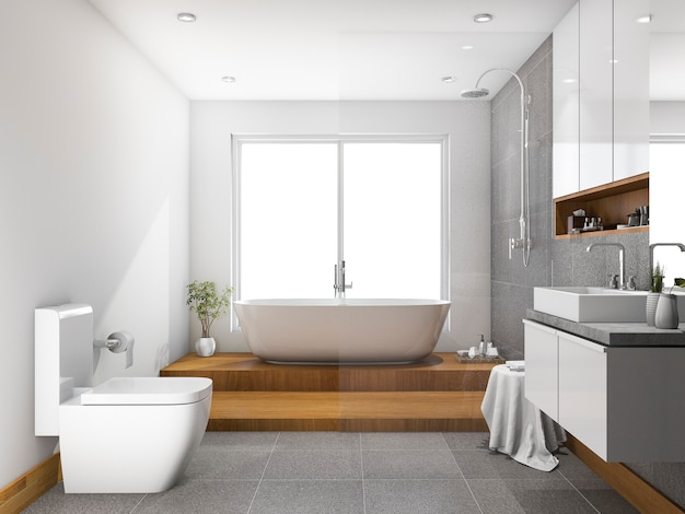 3d рендеринг деревянный шаг ванная комната и туалет возле окна