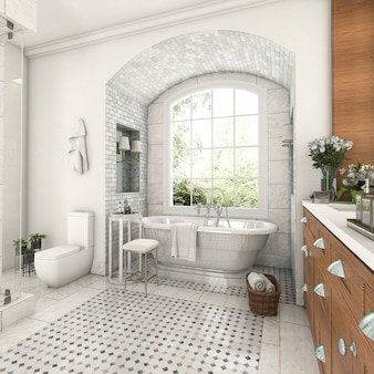 3d rendering wood and tile design bathroom near window with arc brick wall
