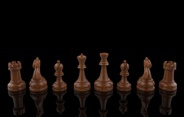 3d rendering. wooden chess set collection team on black . teamwork .