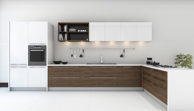 3d rendering wooden decor kitchen