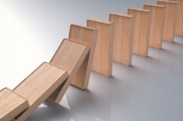 3d рендеринг деревянных домино падающих