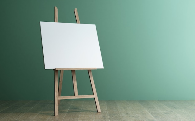 3d rendering of a wooden easel on wood floor with green wall