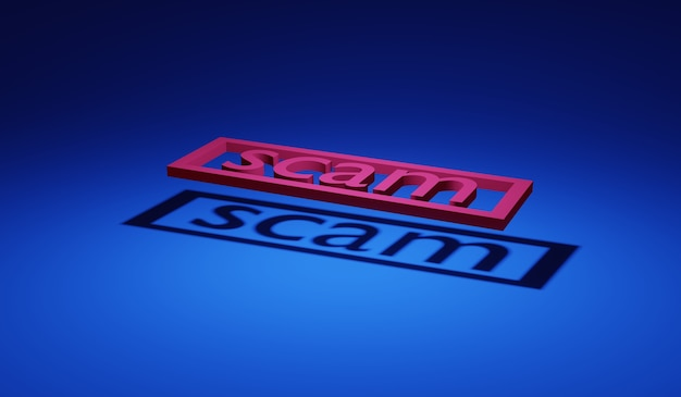 3d rendering word scam with shadow on ground concept of anonymous hacker scamming online