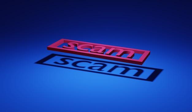 3d-рендеринг слова мошенничество с тенью на земле концепция анонимного хакерского мошенничества в интернете