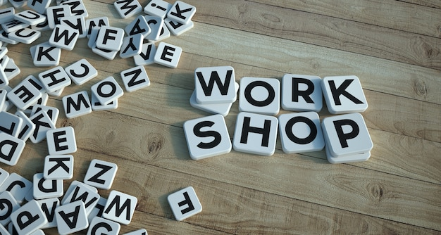 3d rendering of the words work shop written on letter tiles on a wooden parquet