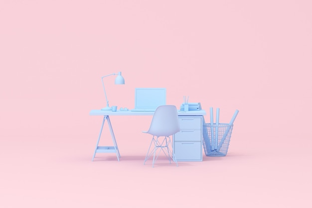3d rendering of workspace desk table with laptop and office accessories.