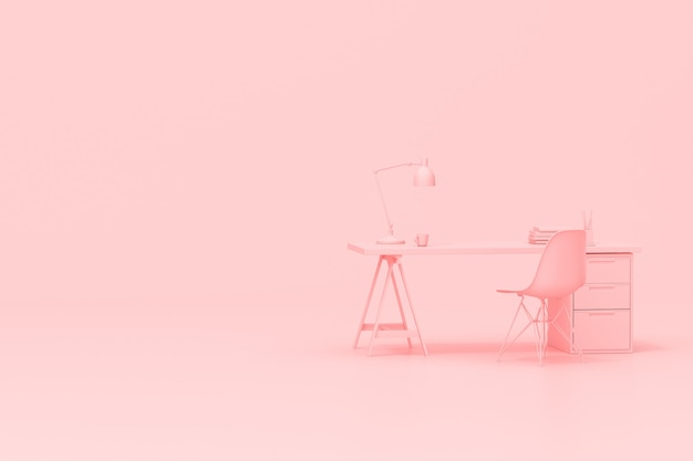 3d rendering of workspace desk table with office accessories on pink background.