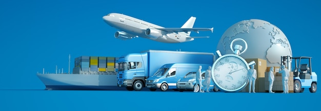 3d rendering of the world, packages and air, land and sea means of transport with a chronometer
