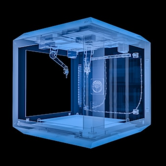 3d rendering x-ray 3d printer with injector nozzle