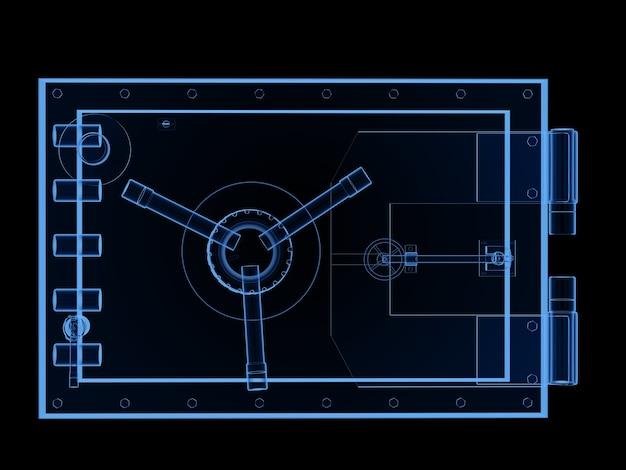 3d-рендеринг рентгеновского банковского сейфа или изолированного банковского хранилища