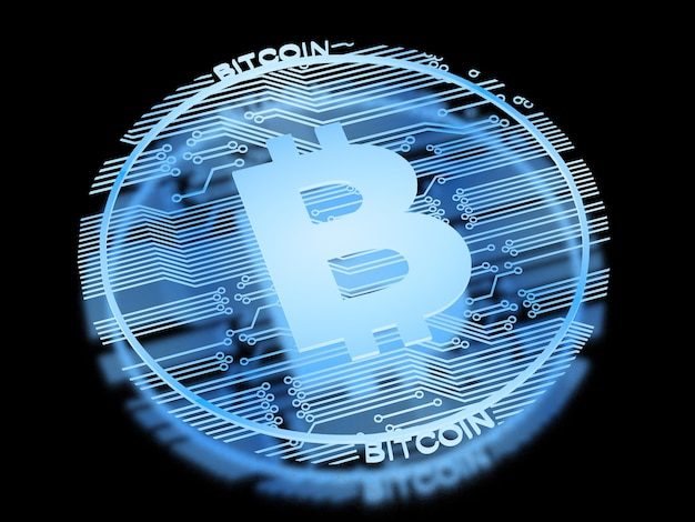 3d rendering x-ray bitcoin isolated on black