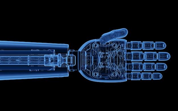 3d 렌더링 엑스레이 사이보그 손 또는 블랙에 고립 된 로봇 손