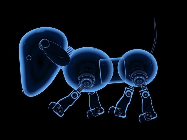 3d рендеринг рентгеновский робот собака изолирован на черном