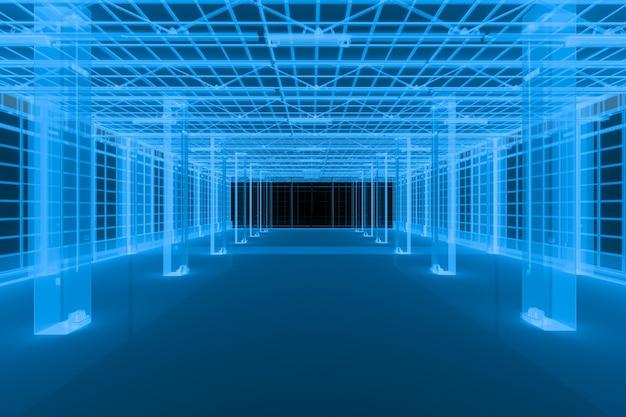3d рендеринг рентгеновский пустой интерьер фабрики или пустой склад