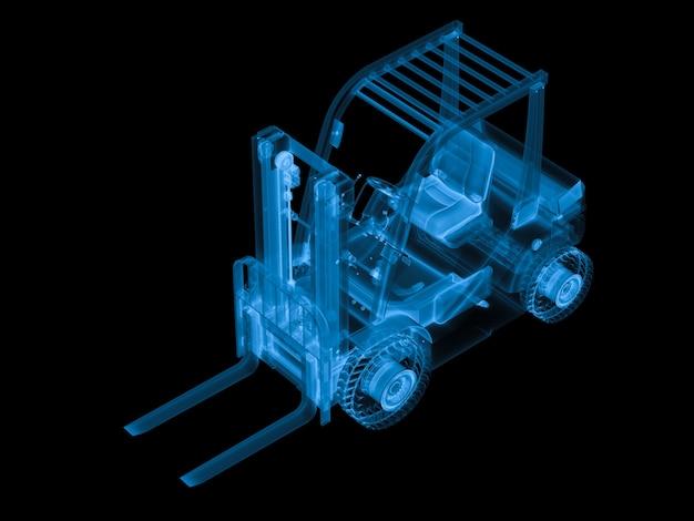 3d-рендеринг x ray вилочный погрузчик, изолированные на черном