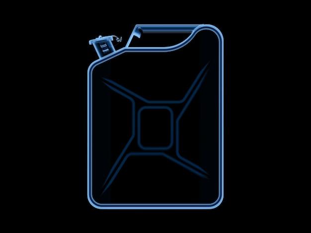 블랙에 고립 된 3d 렌더링 엑스레이 연료 갤런