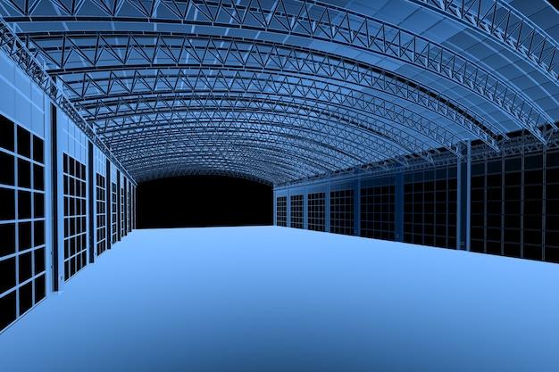 3d-рендеринг рентгеновского интерьера фабрики или склада