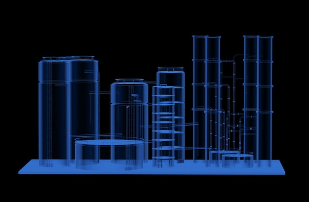 3d rendering x-ray oil refinery plant on black background